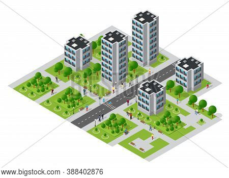 Isometric Urban Megalopolis Top View Of The City Infrastructure Town