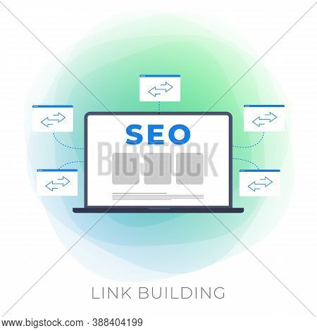 Link Building Flat Vector Modern Icon - Seo Strategy With Backlink Digital Search Engine Optimizatio