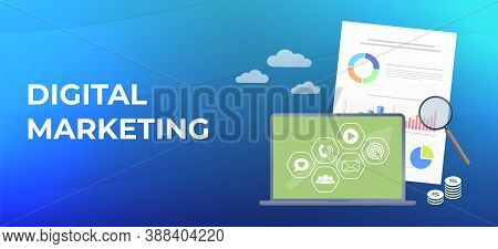 Digital Online Marketing business flat vector banner concept. Laptop with marketing strategy icons (video, social media, e-mail). Modern digital marketing media advertising campaign plan with graph and charts