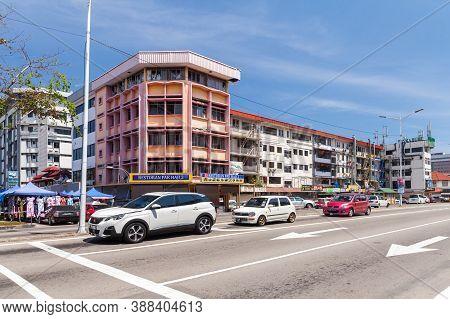 Kota Kinabalu, Malaysia - March 17, 2019: Kota Kinabalu Street View With Modern Buildings, Jalan K.k