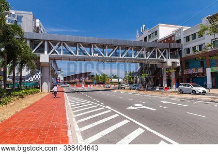Kota Kinabalu, Malaysia - March 17, 2019: Overhead Pedestrian Crossing, Footbridge Over Jalan Tun Fu