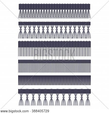 Fringe Edge With Brush And Tassel Trim Vector Flat Set Of Seamless Borders Isolated On A White Backg
