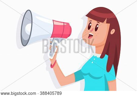 Cute Girl With A Megaphone. Vector Cartoon Flat Woman Character With Loudspeaker Illustration Isolat