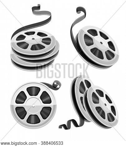 Movie video reel film disks with tape isolated. Set for cinematography. Motion picture production equipment icons set. Isolated on white background. 3D illustration.