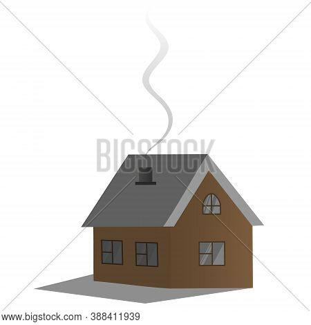 Cozy Country Dwelling. Vector Illustration. House. Smoke Billows From The Chimney. Isolated White Ba