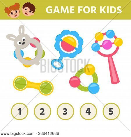 Education Game For Kids. How Many Ball In Rattle Are There. Math Worksheet For Preschoolers. Printab