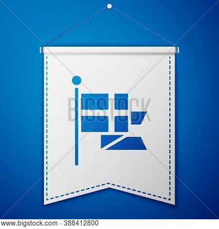 Blue Flag Of England On Flagpole Icon Isolated On Blue Background. White Pennant Template. Vector