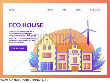 Landing Page Template.green Energy Eco Friendly Suburban American House.