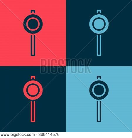 Pop Art Road Traffic Sign. Signpost Icon Isolated On Color Background. Pointer Symbol. Street Inform