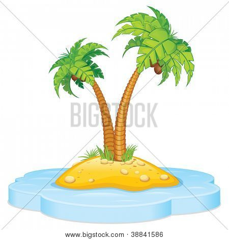 Cartoon Tropical Island with Coconut Palm. Isolated Vector Illustration poster