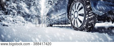 The Car Stopped On The Roadside In A Winter Blizzard.