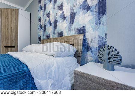 Minsk, Belarus - September, 2019: Interior Of The Modern Luxure Bedroom In Studio Apartments In Blue
