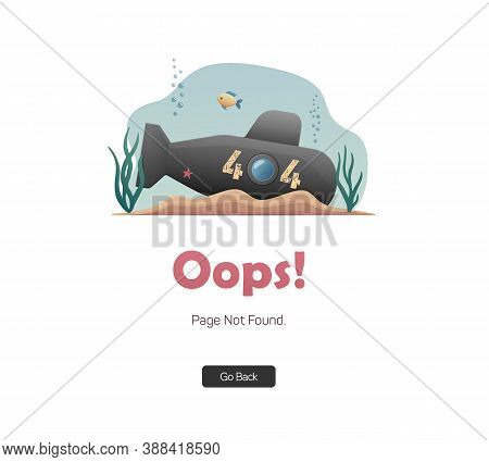 Error 404 Page. Oops! Sorry, Page Not Found. A Sunken Submarine. Flat Illustration For Web.
