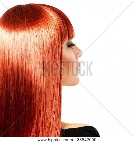 Healthy Long Red Hair. Isolated on white