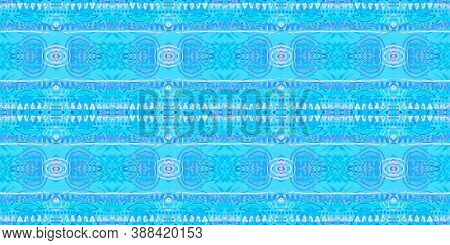 Folk Tribal Seamless Pattern. Trendy Traditional Wallpaper. Textured Abstract Tile Design. Blue Colo