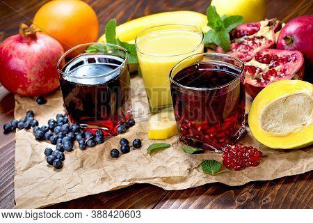 Exotic Fruit Juice, Choke Berry Juice, (aronia Juice), Pomegranate Juice, Banana Smoothie And Organi