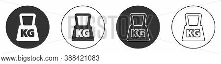 Black Weight Icon Isolated On White Background. Kilogram Weight Block For Weight Lifting And Scale.
