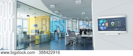 3D rendering of Modern offices with a control panel controlling lighting, temperature, air quality, access and safety