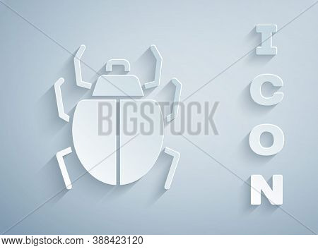 Paper Cut Mite Icon Isolated On Grey Background. Paper Art Style. Vector