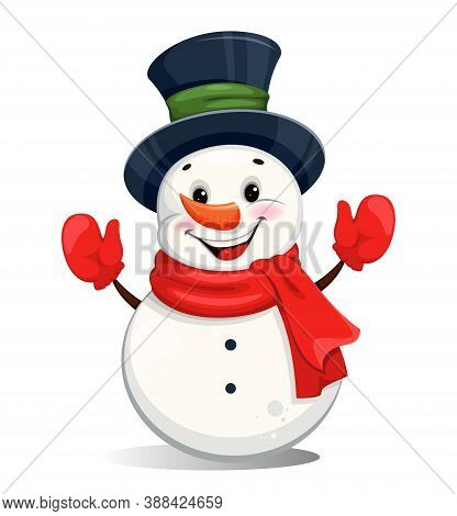 Cute Cheerful Christmas Snowman. Funny Snowman Cartoon Character. Merry Christmas And Happy New Year