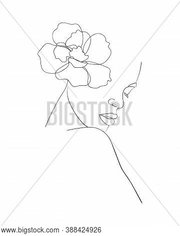 Portrait Of Beautiful Woman With Flower On Head.  Line Drawing. - Vector Illustration.