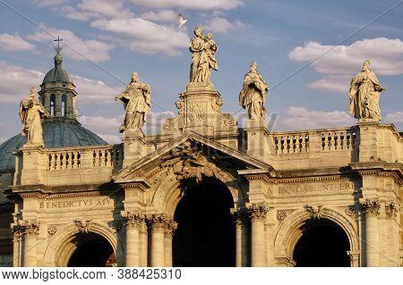 Basilica Of Santa Maria Maggiore In Rome, Italy. Statues On The Facade Of A Catholic Church.