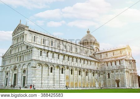 Cathedral In Pisa. Cathedral Of Pisa In Honor Of The Assumption Of The Virgin Mary, Background