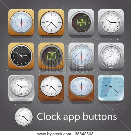 Set of detailed clock app buttons