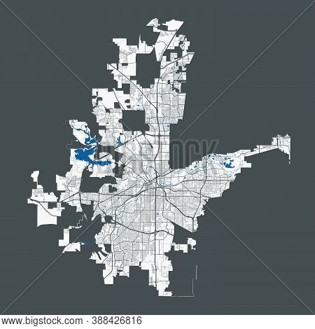 Fort Worth Map. Detailed Map Of Fort Worth City Administrative Area. Cityscape Panorama. Royalty Fre