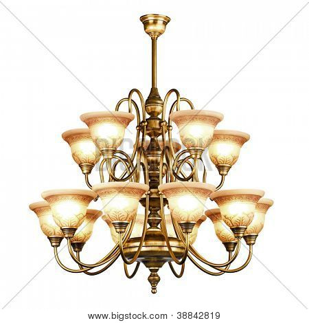 Vintage chandelier isolated on white background with clipping path