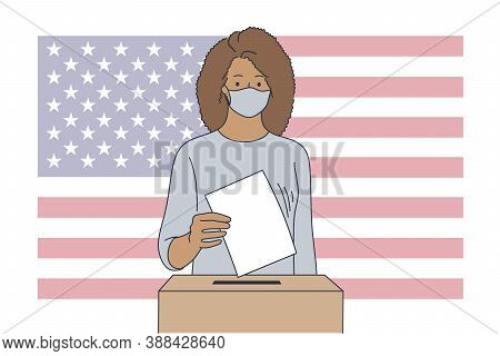 Politics, Election, Usa, Voting Concept. United States Of America Elections 2020 Illustration. Young