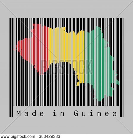 Barcode Set The Shape To Guinea Map Outline And The Color Of Guinea Flag On Black Barcode With Grey