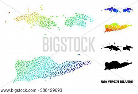 Wire Frame Polygonal And Solid Map Of American Virgin Islands. Vector Model Is Created From Map Of A