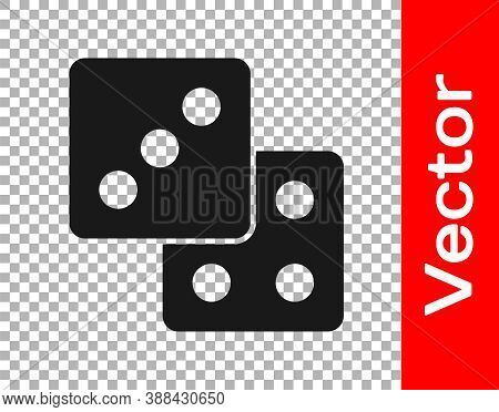 Black Game Dice Icon Isolated On Transparent Background. Casino Gambling. Vector