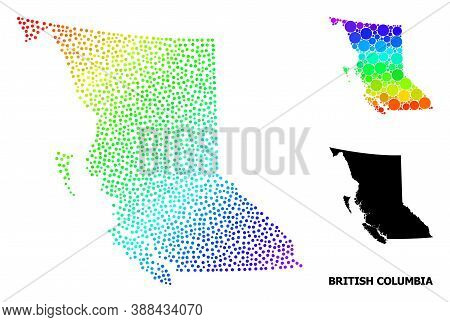 Carcass Polygonal And Solid Map Of British Columbia Province. Vector Structure Is Created From Map O