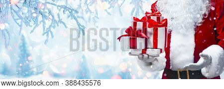 Christmas Present from Santa Claus. Winter Holiday Background