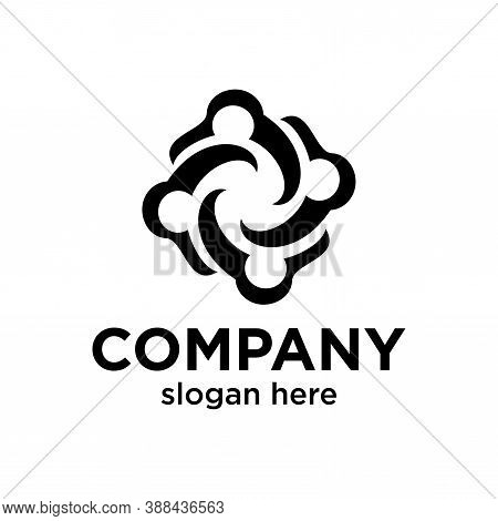 Four People Circle For Community Concept. Very Suitable In Various Business Purposes, Also For Icon,