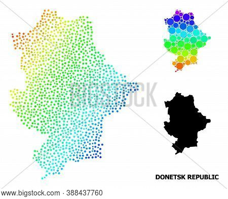 Dotted Bright Spectral, And Solid Map Of Donetsk Republic, And Black Tag. Vector Structure Is Create