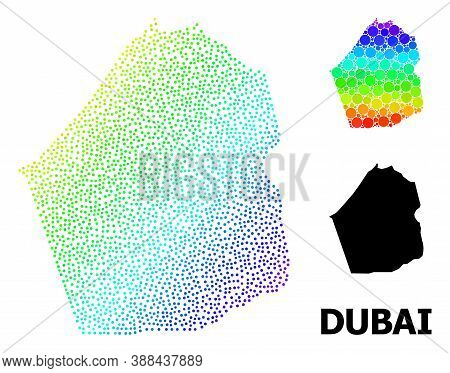Dotted Bright Spectral, And Monochrome Map Of Dubai Emirate, And Black Caption. Vector Model Is Crea