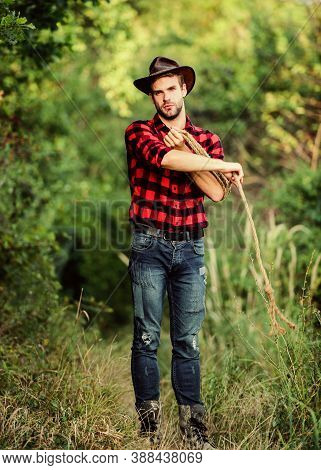 Attle Breeding Concept. Cowboy At Countryside. Ranch Occupations. Man Cowboy Nature Background. Man