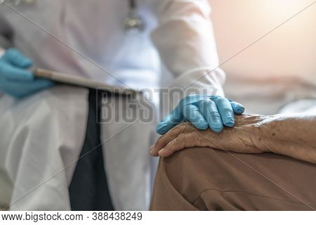 Parkinson's Disease Patient, Arthritis Hand And Knee Pain Or Mental Health Care Concept With Geriatr