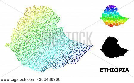 Pixel Spectral, And Monochrome Map Of Ethiopia, And Black Name. Vector Structure Is Created From Map
