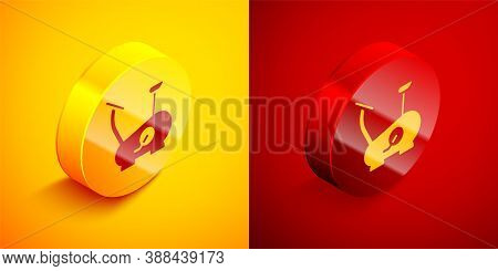 Isometric Stationary Bicycle Icon Isolated On Orange And Red Background. Exercise Bike. Circle Butto