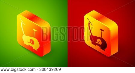 Isometric Stationary Bicycle Icon Isolated On Green And Red Background. Exercise Bike. Square Button