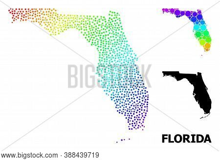 Pixelated Spectrum, And Solid Map Of Florida State, And Black Text. Vector Structure Is Created From