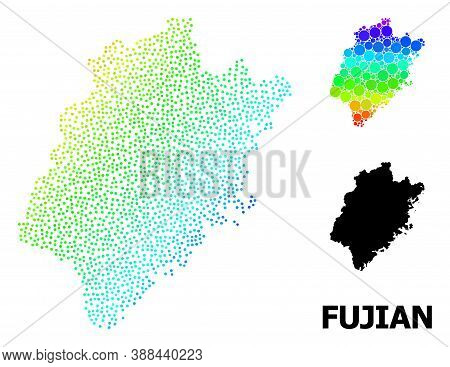 Dotted Spectrum, And Solid Map Of Fujian Province, And Black Title. Vector Model Is Created From Map