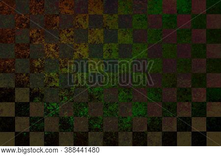 Green Yellow Olive Brown Abstract Checkered Background With Blur, Gradient And Grunge Texture. Space