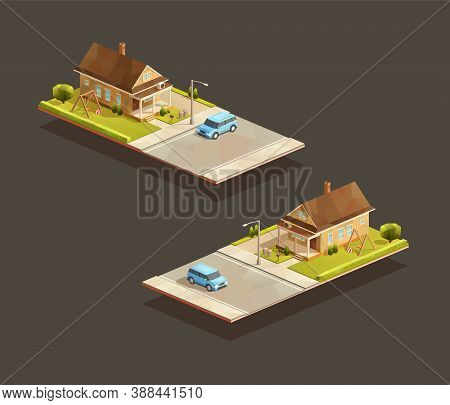 Isometric Poor Family House With Mpv Car On Street. Low Poly Suburban Vector Illustration