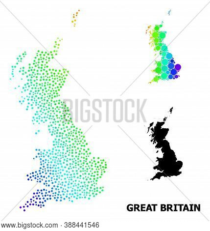 Pixelated Spectrum, And Monochrome Map Of Great Britain, And Black Tag. Vector Structure Is Created