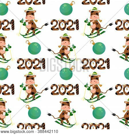 2021 New Year Seamless Pattern With A Skiing Bull Wearing Scarf, Baubles And 2021 Lettering. Vector